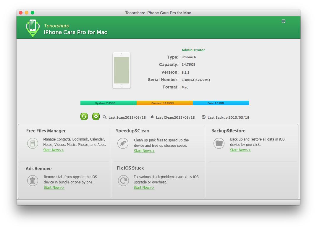 re Pro for Mac - Aufräumen Junk-Dateien, tune up iOS Leistung, die Verwaltung von Dateien für iOS-Geräte, fix iOS stecken, entfernen app-in Anzeigen und Sicherung und Wiederherstellung iPhone, iPad, iPod. [Download] ()