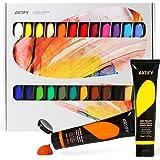 Artify Lot de 24 peintures acryliques 38 ml avec boîte de rangement, pigments riches, non toxiques, pour artistes, peintres e
