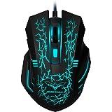 HAVIT LED Gaming Maus, 3200DPI 6 Tasten und 7 beruhigenden LED-Farben (Schwarz)