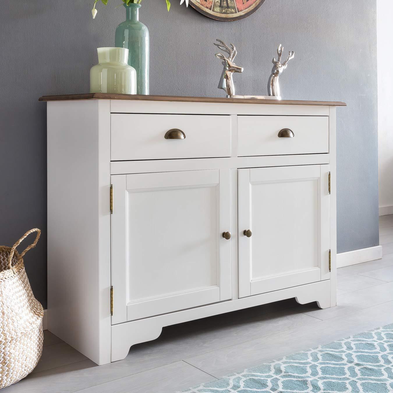 Wohnling Mayla Sideboard, Massivholz, Weiß, 110 x 85 x 45 cm 1