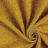 Fabulous Fabrics Jersey Stoff Lurex Glitzer – Gold — Meterware ab 0,5m — zum Nähen von Karnevalsartikeln und Abend- und Partymode