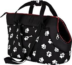 Hobbydog TORCWL3 Hundetasche Tragetasche Katzentasche mit Pfoten, Größe 40 x 30 x 55 cm, schwarz