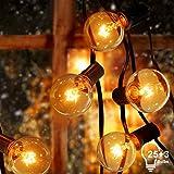Guirlande Lumineuse Exterieur avec 25 G40 Ampoule Blanc Chaud avec 3 de Rechange, 7.62 Mètres Câble, Décoration Intérieur et