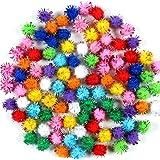 nuluxi Pompons à Paillettes pour Loisirs Créatifs Pom Pom DIY Décoratifs Multicolores Rondes Pompons Mini Pompons Balles pour