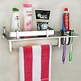 Plantex Stainless Steel 3 in 1 Multipurpose Bathroom Shelf/Rack/Towel Hanger/Tumbler Holder/Bathroom Accessories (15 x 6…