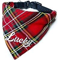 Hundehalstuch mit Halsband in 6 Farben Verstellbar optional mit Wunsch Namen bestickt Schotten Karo Halstuch Tuch