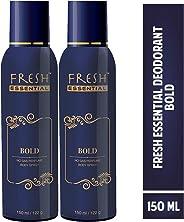 Fresh Essential No Gas Perfume Body Spray - Bold, 150 ml / 122g (Pack of 2)