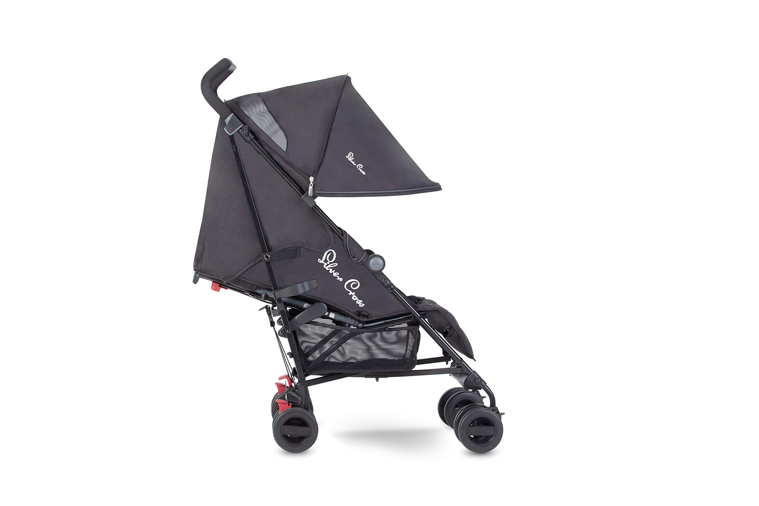 Silver Cross Zest Charcoal Black Silver Cross Ultra lightweight zest pushchair, weighing in at only 5.8kg, is suitable from birth up to 25kg It has a convenient one-hand fold, while the compact design makes it easy to store The fully lie-flat recline is best in its class 1