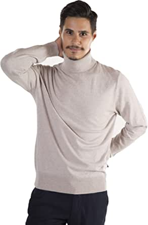 MY BASIC Men's High Neck Jumper Soft Cotton Cashmere