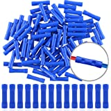 eHUB Fully Insulated Straight Butt Connector Electrical Wire Crimp Terminals - Pack of 100 Pieces (Blue)