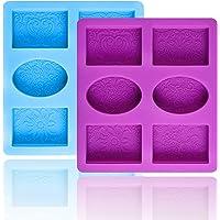Moule Savon, Moules à Savon en Silicone, Rectangulaires et Ovales, Pour Savon, Bougies, Glaçons, 2 Pièces
