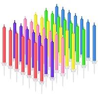 BBTO 36 Pièces Bougies de Gâteau d'anniversaire avec Flammes Colorées Bougies Colorées Arc-en-Ciel avec Supports pour…