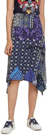 Desigual Skirt Knee Katherine Woman Blue Gonna Donna