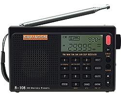 SIHUADON R108 Portable Radio Pocket Radio Airband radio FM AM SW Radio Alarm Battery For Kitchen Home
