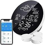 Eachen Draadloos weerstation met 3 buitensensoren, thermometer, hygrometer, draadloos weerstation, compatibel met Smart Life