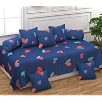 BADOTI Printed Designer Glace Cotton Diwan Set with 8 Pieces, 1 Single bedsheet with 5 Cushions Covers and 2 Bolster Covers with Attractive Color & Design (Blue Heart)