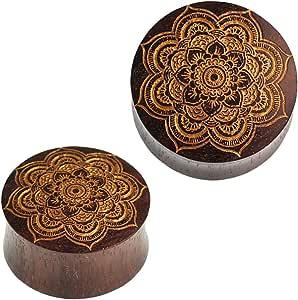 Chic-Net - Dilatatore a Forma di Mandala, con Fiore in Legno di Sono, Colore: Marrone Scuro/Oro, Unisex, per Orecchio e Orecchini, Intagliato a Mano