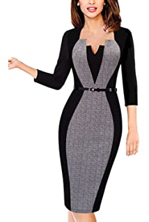 c07c589c858d Damen Kleider Frauen Dress Kurzarm Office Bodycon Abendkleid A Line ...