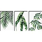 SAF Set of 3 Preety Green Leaf Modern Art MDF Self Adhessive UV Textured Painting 27 Inch X 12 Inch(Each Painting Size 12 Inc