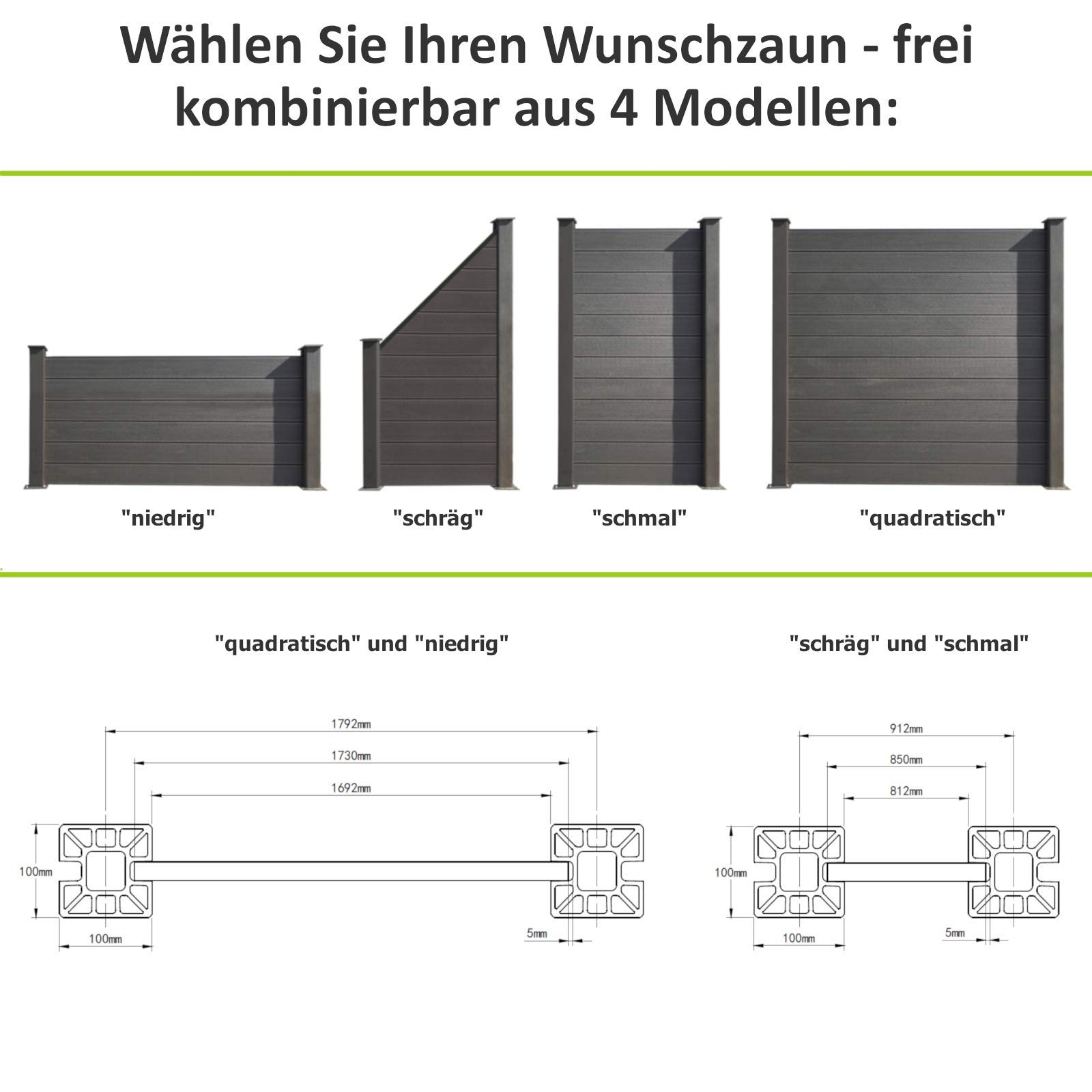 Hori Wpc Zaun Design L Sichtschutz Zaun Gartenzaun Komplettset L