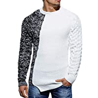 Gemijacka Mens Crew Neck Jumper Winter Warm Knit Sweater Cable Causal Slim fit Knitted Pullover