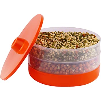 PIKASO Health Plus Plastic Sprout Maker with 3 Containers(Orange, Standard Size)