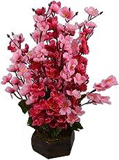 Sofix Beautiful Artificial Flower Pot Peach Blossom Flower Bunch Pot for Home Decor Hotel Decor Office Decor- Finest Quality on Amazon