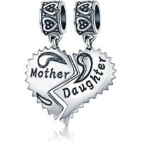 """NINGAN """"I Love Mother(Io Amo Mamma) Charm in Argento Sterling 925, Compatibile con bracciali Europei Compatibile con…"""