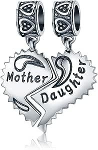 """NINGAN """"I Love Mother(Io Amo Mamma) Charm in Argento Sterling 925, Compatibile con bracciali Europei Compatibile con Braccialetti Europei"""