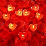 9 Pacchi Candele a Forma di Cuore Candela d'Amore Romantica Candele Luce del Tè con 200 Pezzi Petali di Rosa di Seta Petalo S