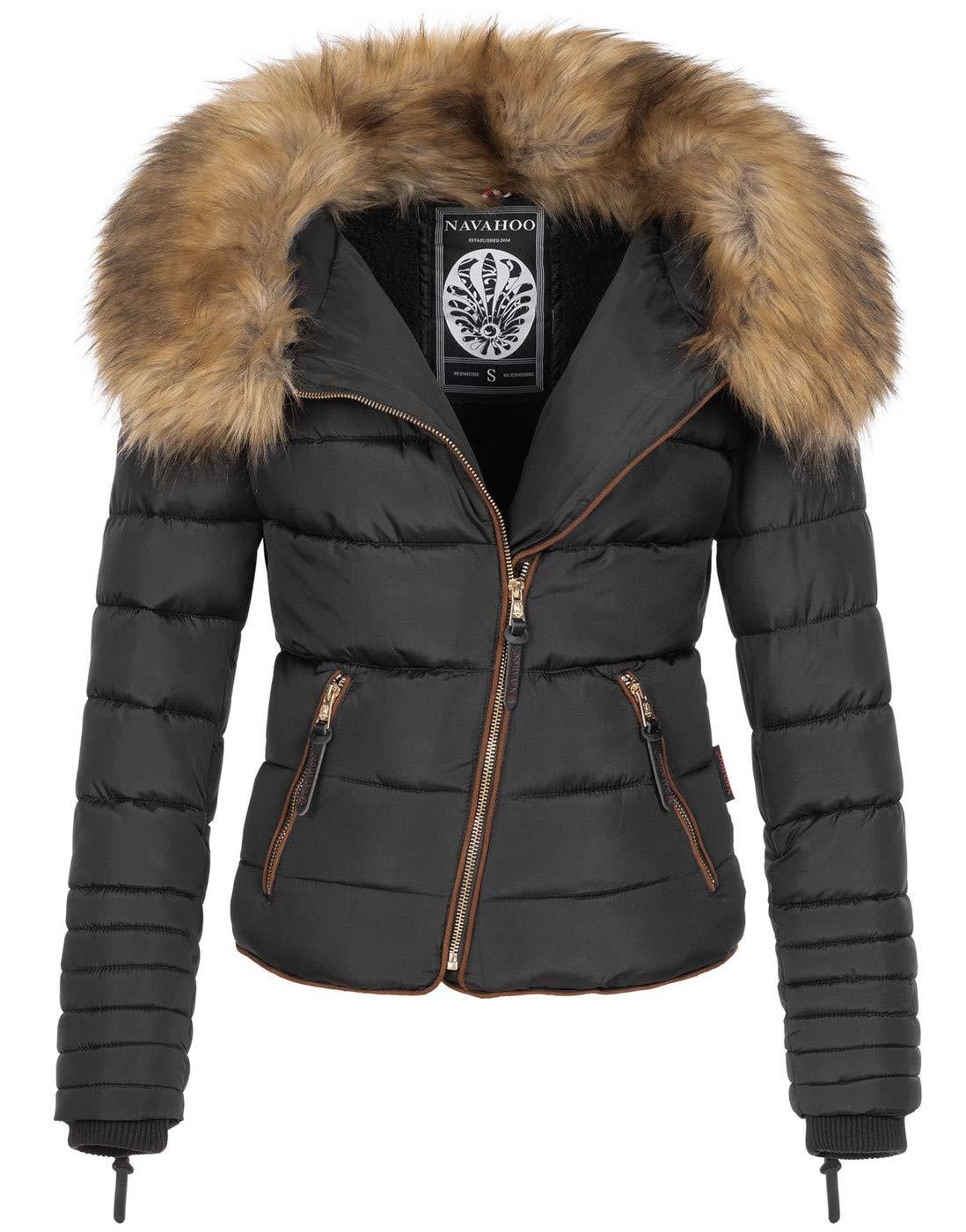 Navahoo Damen Winter Jacke Parka Steppjacke großer Kunstfell Kragen B835