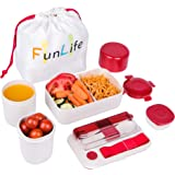 Bento Box, Fun life Lunch Box, Eco-Friendly, BPA Free, Leakproof Container & Airtight Lid, for Healthy, Dry & Liquid Food, Portion Control, Meal Prep, Adults & Kids (Red)