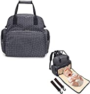 Mom Bag Backpack Diaper Bag Waterproof Baby Nappy Mother Bag All in One Multifunctional Large Capacity Fit Stroller with Changing Pad & Stroller Straps 14 Pockets Black
