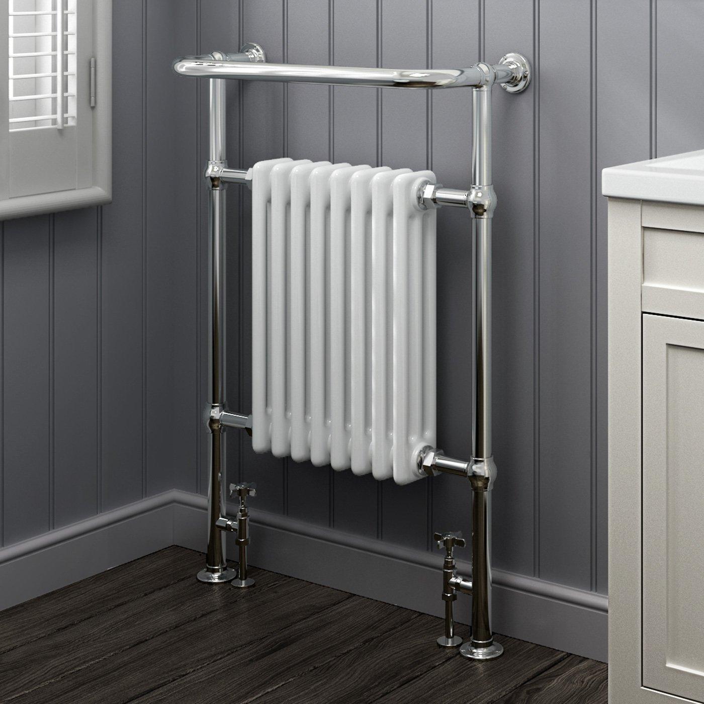 Bathroom heated towel radiators - Ibathuk 8 Column Traditional Designer Heated Towel Rail Bathroom Radiator All Sizes Ibathuk Amazon Co Uk Diy Tools
