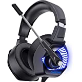 ONIKUMA Gaming Headset PS4 Spiel Kopfhörer 7.1 Surround Sound LED 4D Stereo Noise Cancelling mit Mikrofon Gaming Kopfhörer für Xbox1 Switch Tablets Handy.