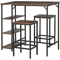 HOMCOM Ensemble Table de Bar 3 étagères 2 tabourets Style Industriel métal Noir Aspect Vieux Bois veinage