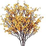 HUAESIN 4pcs Flores Artificiales Pequeñas Decoracion GypsophilaArtificial Orquideas Amarilla Baby Breath Flores Plastico par