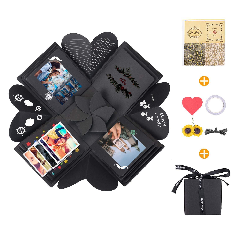 KATELUO Explosion Box,Caja de Regalo Creative Explosion Love Memory DIY Álbum para cumpleaños Aniversario Boda San Valentín Día de la Madre Navidad (Negro)