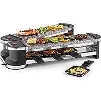 Klarstein Tenderloin Raclette-grill dépliable (8 personnes avec deux plaques de cuisson en pierre naturelle, 8 poêlons…
