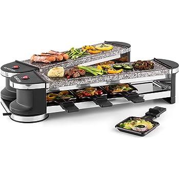 Klarstein Tenderloin Raclette-grill dépliable (8 personnes avec deux plaques de cuisson en pierre naturelle, 8 poêlons avec raclettes en bois, 2 x 1200W)
