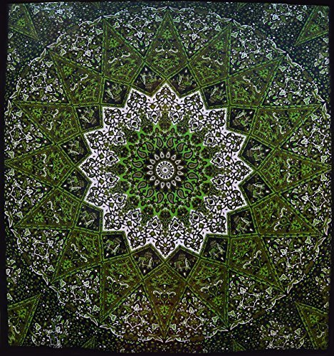 Popular Psychedelic Mandala Hippie Tapestry Indian Wall Hanging Bedspread 84x90 Inches (215x230cms) by Popular Handicrafts