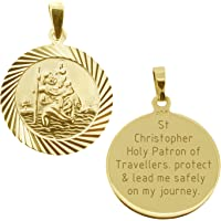 """CJoL - 9ct Yellow Gold Plated 20mm Round Diamond Cut St Christopher Medal Pendant With Travellers Prayer & 20"""" Chain In…"""