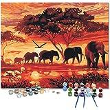 DonElton Pintar por numeros para Adultos Safari de Elefantes - Pintura para Pintar por números con Pinceles y Colores Brillan