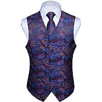HISDERN Set di Gilet e Cravatta Jacquard Floreali Classici da Uomo in Paisley Floreale e Tasca Quadrata