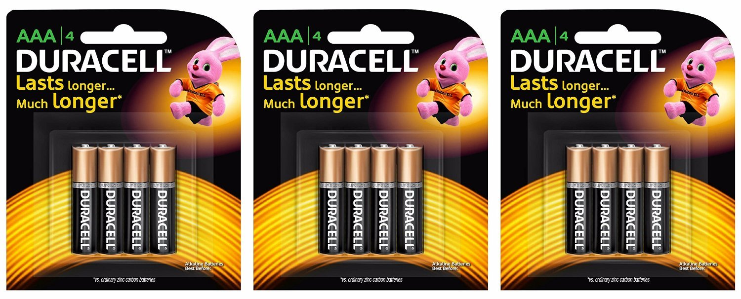 Duracell Alkaline AAA Battery with Duralock Technology – 12 Pieces (Black/Brown)