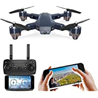DARKZONE Wi-Fi Camera 480P Foldable Drone RC Quadcopter with Auto Return and Follow Me,Gesture Selfie, Flips Bounce Mode…