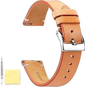 BINLUN Cinturini per orologi in vera pelle Cinturini per orologi in pelle a sgancio rapido con fibbia in metallo inossidabile Chiusura per uomo Donna 12mm 14mm 16mm 18mm 20mm 22mm 24mm
