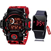Acnos Brand - A Digital Watch with Square LED Shockproof Multi-Functional Automatic 5 Color Army Strap Waterproof…