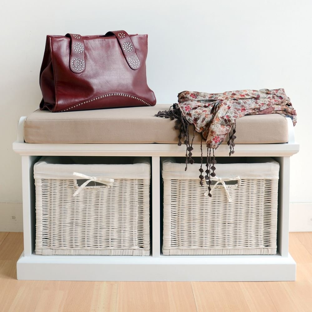 Tetbury Grey Bench With 2 White Baskets. Hallway Storage Bench With  Matching Cushion Seat. Very Sturdy, FULLY ASSEMBLED: Amazon.co.uk: Kitchen  U0026 Home
