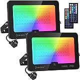 Lot de 2 RGB Projecteurs LED 100W, Lampe Couleur Multicolore Réglable avec Télécommande, IP66 Étanche, Décor Ambiance Éxtérie